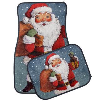 Snowy Night Watercolor Santa Car Mat
