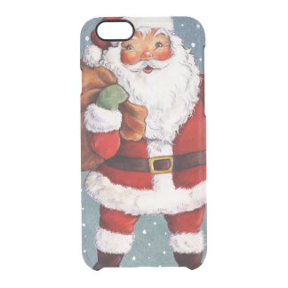 Snowy Night Watercolor Santa Clear iPhone 6/6S Case