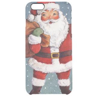 Snowy Night Watercolor Santa Clear iPhone 6 Plus Case