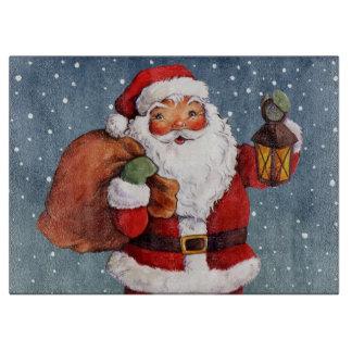 Snowy Night Watercolor Santa Cutting Board