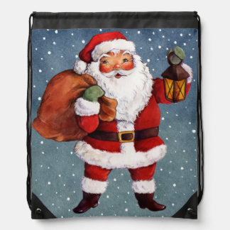 Snowy Night Watercolor Santa Drawstring Bag