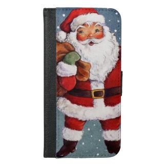 Snowy Night Watercolor Santa iPhone 6/6s Plus Wallet Case