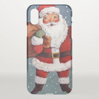 Snowy Night Watercolor Santa iPhone X Case
