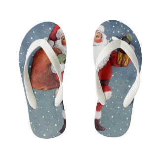 Snowy Night Watercolor Santa Kid's Flip Flops