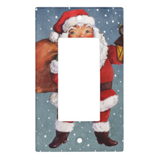 Snowy Night Watercolor Santa Light Switch Cover