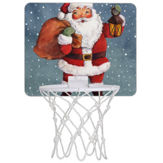 Snowy Night Watercolor Santa Mini Basketball Hoop