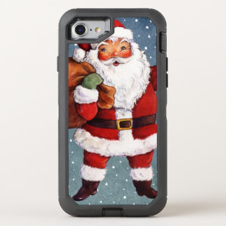Snowy Night Watercolor Santa OtterBox Defender iPhone 8/7 Case