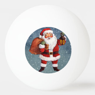 Snowy Night Watercolor Santa Ping Pong Ball