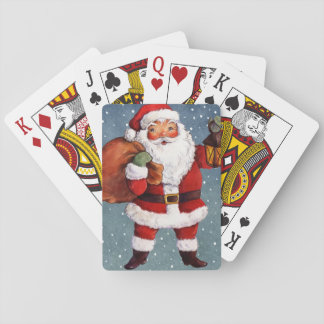 Snowy Night Watercolor Santa Playing Cards