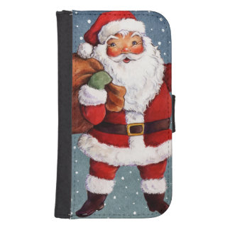 Snowy Night Watercolor Santa Samsung S4 Wallet Case