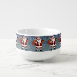 Snowy Night Watercolor Santa Soup Mug