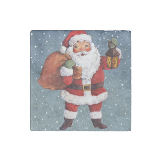 Snowy Night Watercolor Santa Stone Magnets