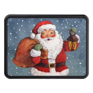 Snowy Night Watercolor Santa Trailer Hitch Cover