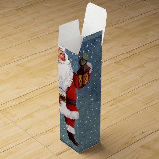 Snowy Night Watercolor Santa Wine Gift Box