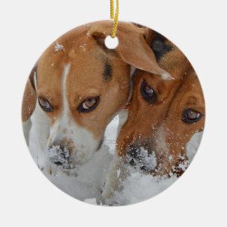 Snowy Noses Beagles Ceramic Ornament