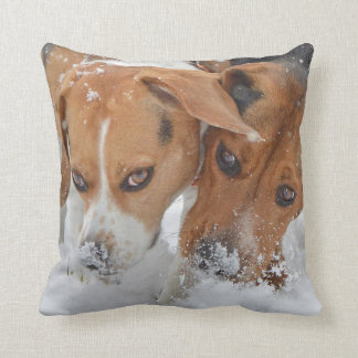 Snowy Noses Beagles Throw Pillow