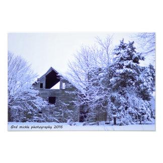 Snowy old Farm Photo Print