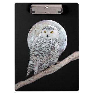 Snowy Owl and Moon Clipboard