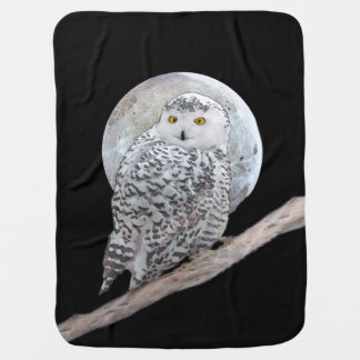 Snowy Owl and Moon Painting - Original Bird Art Baby Blanket