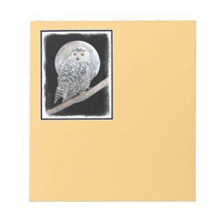 Snowy Owl and Moon Painting - Original Bird Art Notepad