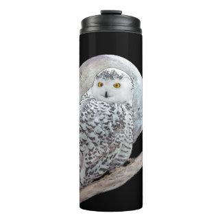 Snowy Owl and Moon Painting - Original Bird Art Thermal Tumbler
