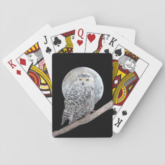 Snowy Owl and Moon Playing Cards