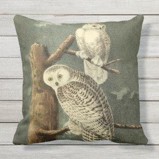 Snowy Owl Audubon Bird Art Illustration Artwork Throw Pillow