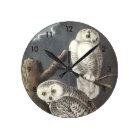 Snowy Owl by Audubon Round Clock