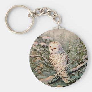 SNOWY OWL by SHARON SHARPE Basic Round Button Keychain