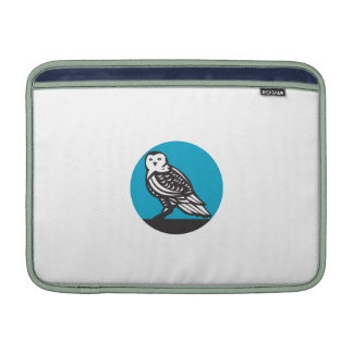 Snowy Owl Circle Retro Sleeve For MacBook Air