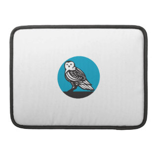 Snowy Owl Circle Retro Sleeves For MacBook Pro