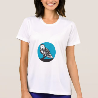 Snowy Owl Circle Retro T-Shirt