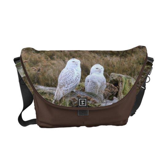 Snowy Owl Couple on Chocolate Brown Messenger Bag