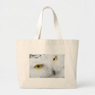 SNOWY OWL EYES LARGE TOTE BAG