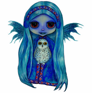 Snowy Owl Fairy Sculpture Standing Photo Sculpture