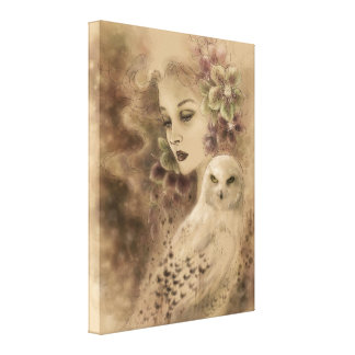 Snowy Owl Fantasy Art Canvas Print