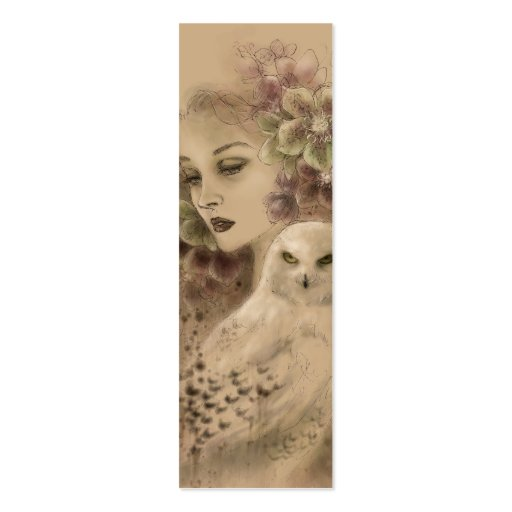Snowy Owl Fantasy Illustration Bookmark Business Card