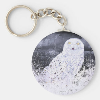 Snowy Owl : Hand Painted By c09MarySylviaHines Basic Round Button Keychain