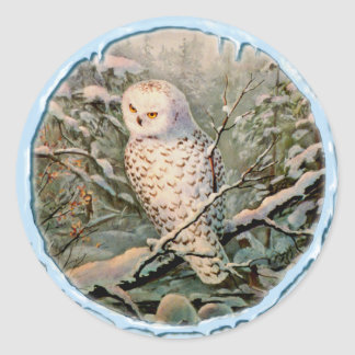 SNOWY OWL & ICICLES by SHARON SHARPE Classic Round Sticker