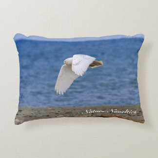 Snowy Owl in Flight Accent Pillow