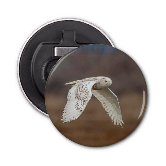 Snowy owl in flight bottle opener