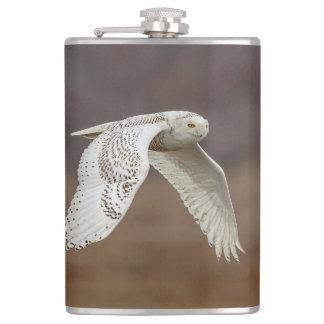 Snowy owl in flight hip flask
