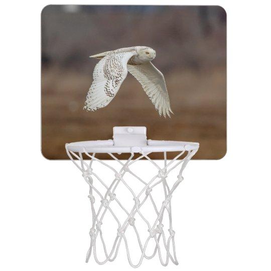 Snowy owl in flight mini basketball hoop