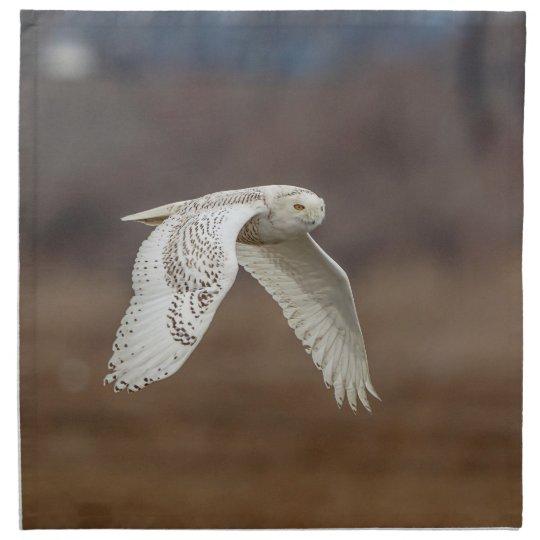 Snowy owl in flight napkin