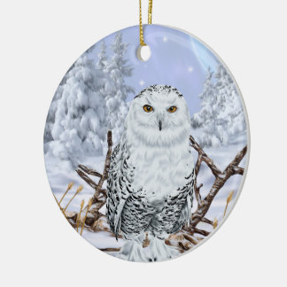Snowy Owl in Snow Ceramic Ornament