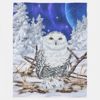 Snowy Owl in Snow Dark Blue Sky Fleece Blanket
