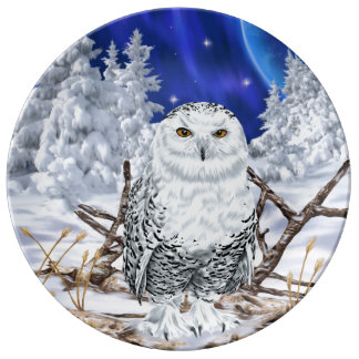 Snowy Owl in Snow Dark Blue Sky Porcelain Plate