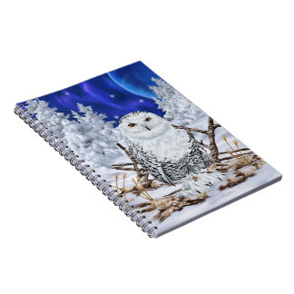 Snowy Owl in Snow Dark Blue Sky Spiral Notebook