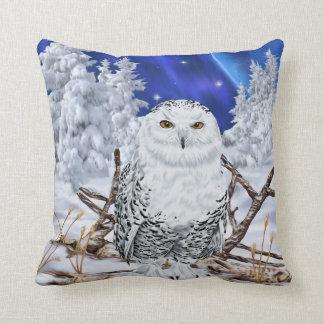 Snowy Owl in Snow Dark Blue Sky Throw Pillow