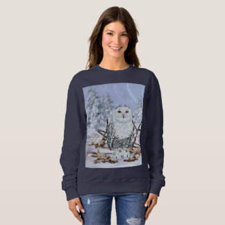 Snowy Owl in Snow Sweatshirt
